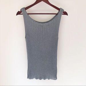 Dana Bachman silver tank sweater, scoop neck, sz L